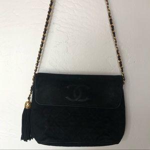Vintage quilted black Chanel shoulder bag